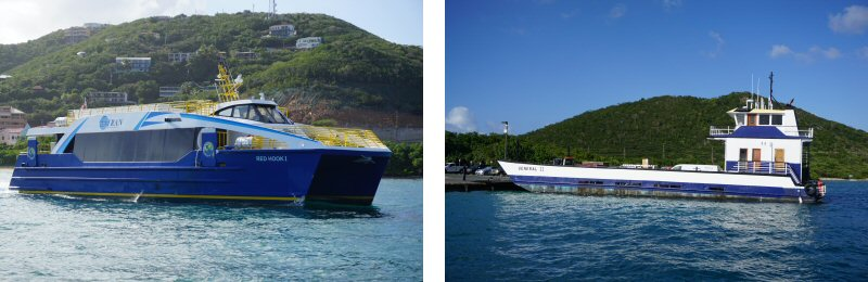 People Mover Ferry and Car Barge Ferry from St. Thomas to St. John