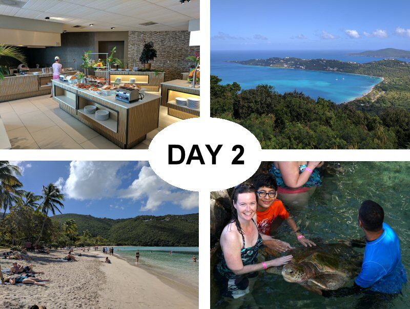 Sugar Bay Resort Breakfast Bar, Magens Bay (from Drakes Seat), Magens Bay (up close), and Coral World Sea Turtle Encounter