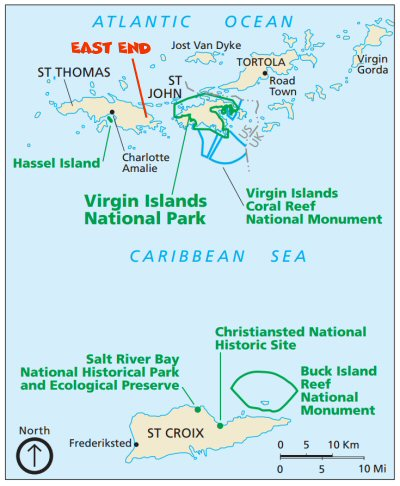 An action packed itinerary for the us virgin islands of st thomas map courtesy of the national park service sciox Choice Image